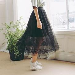 Porta - Lace Trim Midi Tulle Skirt