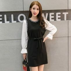 Sheeno - Mock Two-piece Puff-sleeve Panel Dress