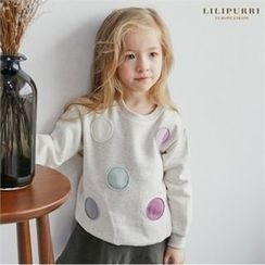 LILIPURRI - Kids Brushed Fleece Lined Dotted Sweatshirt