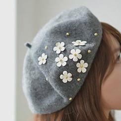 Pompabee - 饰花贝雷帽