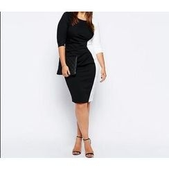 Forest Of Darama - Two-Tone Sheath Dress with Belt