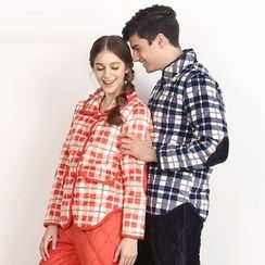 Hodohome - Couple Matching Pajama Set: Quilted Plaid Shirt + Pants