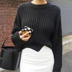 LIPHOP - Round-Neck Drop-Shoulder Knit Top
