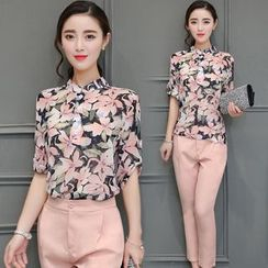 Emeline - Set: Floral Print Chiffon Blouse + Cropped Dress Pants