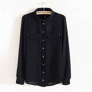 JVL - Long-Sleeve Studded Chiffon Shirt