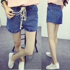 KANAMI - Lace-Up Denim Shorts