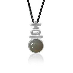 ZN Concept - Grey Agate Pendant with Silk Cord