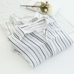 Bonbon - Elbow-Sleeve Striped Shirt
