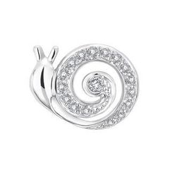 MaBelle - 18K White Gold Round Diamond Pave Setting Snail Single Stud Earring (0.05 ct)