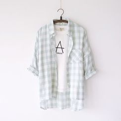 Bonbon - 3/4-Sleeve Check Shirt