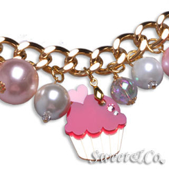 Sweet & Co. - Mini Gold Fuchsia Cupcake Swarovski Crystal Charm Bracelet