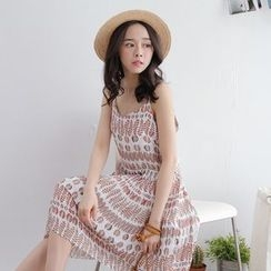 Tokyo Fashion - Sleeveless Spaghetti-Strap Printed Dress