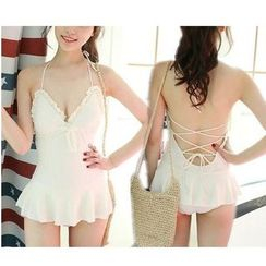 Jumei - Frilled Trim Swimdress