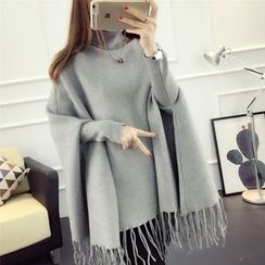 GESTA - Maternity Dolman-Sleeve Fringe Hem Turtleneck Sweater
