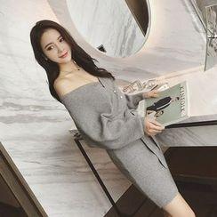 Panda Love - Long-Sleeve V-Neck Knit Dress