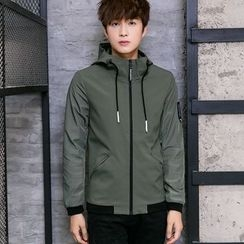 Besto - Plain Hooded Jacket