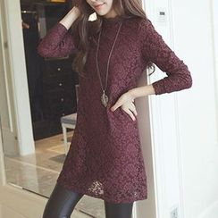 Cheer Mom - Long-Sleeve Fleece-Lined Lace Maternity Dress