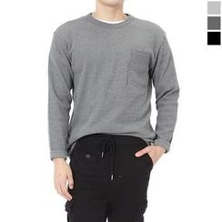 Seoul Homme - Round-Neck Pocket-Front T-Shirt