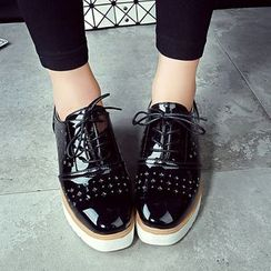 Sunsteps - Perforated Faux Leather Platform Lace-Up Shoes