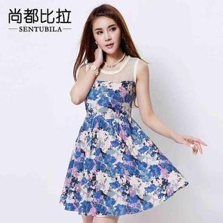 Sentubila - Sleeveless Mesh-Panel Floral A-Line Dress