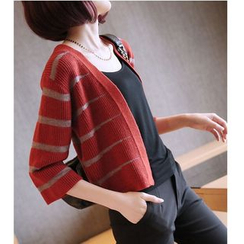 YIDIYU - 3/4-Sleeve Striped Cardigan