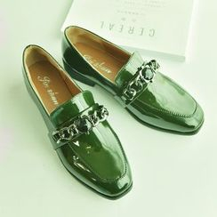 Chryse - Low Heel Faux Patent Leather Loafers
