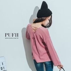 PUFII - Lace-up Back Knit Top