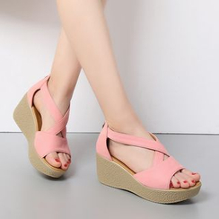 Hannah - Genuine Leather Wedge Sandals