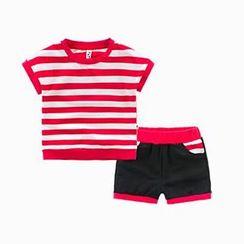 Kido - 兒童套裝: 條紋T裇 + 短褲