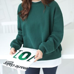 CLICK - Layered-Hem Fleece-Lined Sweatshirt