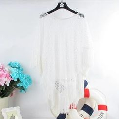 Roseate - Perforated Fringed Cover-up