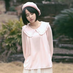 11.STREET - Long-Sleeve Collared Chiffon Top