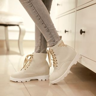 Shoes Galore - Studded Lace Up Short Boots