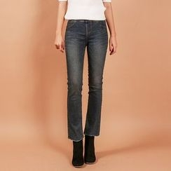 Seoul Fashion - Band-Waist Washed Straight-Cut Jeans