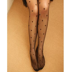 Kally Kay - Heart Print Sheer Tights