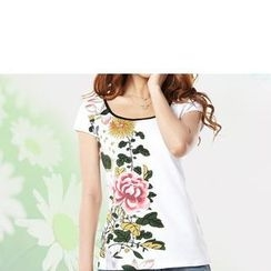 Zyote - Short-Sleeve Flower Print T-Shirt