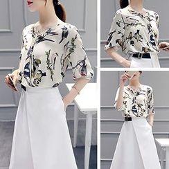 Ashlee - Set: Bird Print Elbow-Sleeve Chiffon Blouse + Belted A-Line Skirt