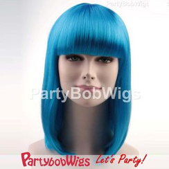 Party Wigs - PartyBobWigs - Party Medium Bob Wig - Neon Blue