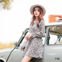 OrangeBear - Self-Tie Floral Chiffon Dress