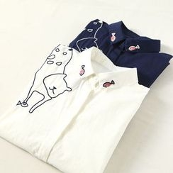 Ranche - Cat Embroidered Shirt