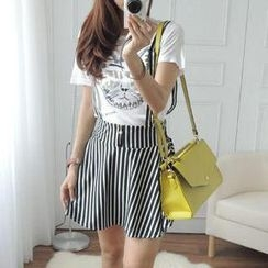 CYNTHIA - Striped Suspender Skirt