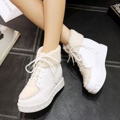 JY Shoes - Fleece Lined Hidden Wedge Lace Up Ankle Boots