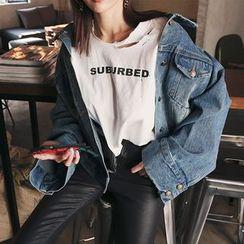 DABAGIRL - Wide-Sleeve Buttoned Washed Denim Jacket