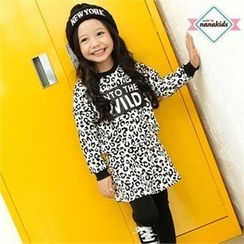nanakids - Girls Set: Lettering Leopard Sweatshirt + Inset Skirt Leggings