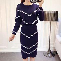 Honeydew - 套裝: 針織套衫 + 條紋裙