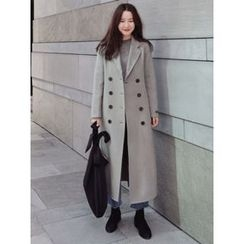 maybe-baby - Double-Breasted Wool Blend Long Coat