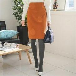 ode' - Floral Patterned Pencil Skirt