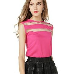 LIVA GIRL - Mesh Panel Sleeveless Chiffon Top