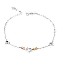 MaBelle - 14K Italian Tri-Color Gold Cut-out Stars and Diamond-Cut Beads Anklet (23.5cm), Women Jewelry in Gift Box