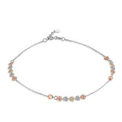 MaBelle - 14K Tri-Color White Yellow Rose Gold Dainty Heart Plates Anklet  (23cm)